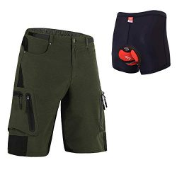 Ally Padded Mountain Bike Shorts, Water Repellent Mens Cycling MTB Shorts, 7 Pockets (Army Green ...
