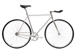 State Bicycle Fixed Gear/Fixie 3.0 Montecore Single Speed Bike Bull Horn, 62 cm, Silver