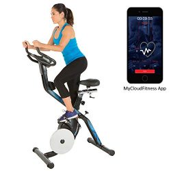 Exerpeutic LXi 10 Bluetooth Smart Technology Folding Indoor Cycling Exercise Bike with Free App