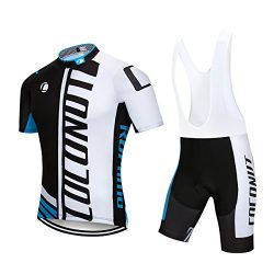 Men's Cycling Jersey Short Sleeve Full Zip Bike Clothing Set, Quick-Dry, Bib Shorts with 1 ...
