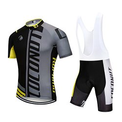 Men's Cycling Jersey Short Sleeve Full Zip Bike Clothing Set, Quick-Dry, Bib Shorts with 6 ...
