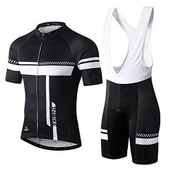 INBIKE Cycling Jersey Men Set Bib Short Sleeve Bike Shirt Gel Padded Bib Shorts for Summer Black ...