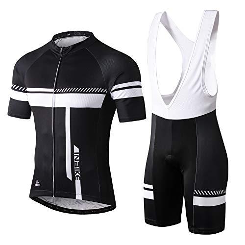 INBIKE Cycling Jersey Men Set Bib Short Sleeve Bike Shirt Gel Padded Bib Shorts for Summer Black ...
