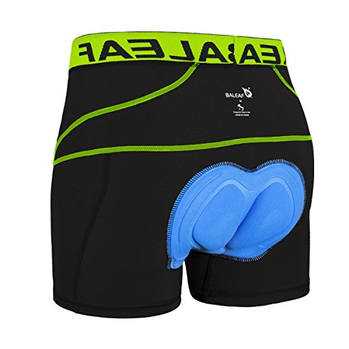 Baleaf Men's 3D Padded Bike Bicycle MTB Cycling Underwear Shorts (Green, XL)