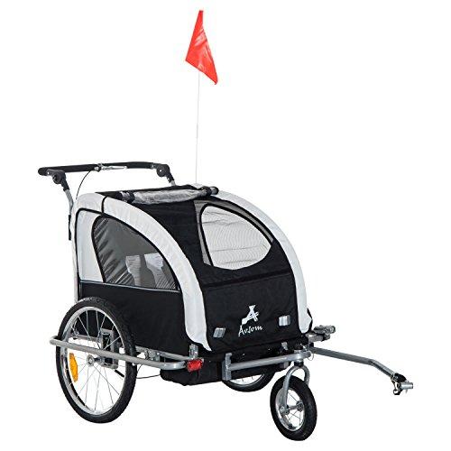 Aosom Elite II 3in1 Double Child Bike Trailer, Stroller & Jogger – White