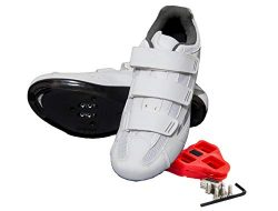 Tommaso Pista Women's Spin Class Ready Cycling Shoe – White/Silver – Look Delt ...