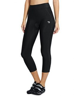 Baleaf Women's 3D Padded UPF 50+ 3/4 Cycling Compression Tights Capris with Pocket Black L ...