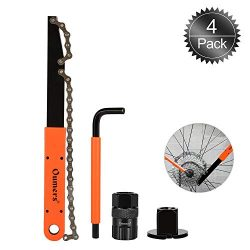 Oumers Bike Cassette Removal Tool with Chain Whip and Auxiliary Wrench Bicycle Sprocket Removal  ...