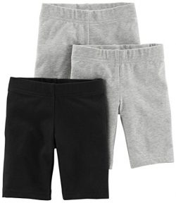 Simple Joys by Carter's Toddler Girls' 3-Pack Bike Shorts, Black, Grey, 5T