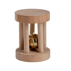 Itemap Natural Wooden Unicycle Dumbell Bell Roller Chew Toys for Pet Rabbits Hamsters (S-5cm x 3 ...