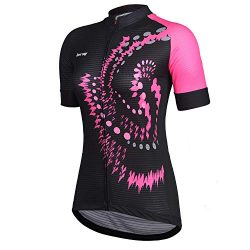 Beory Womens Cycling Jerseys Short Sleeves,Girls Bike Short Sleeves Three Pockets(XXL Pink)