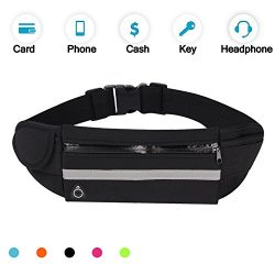 Running Belt Waist Pack, Water Resistant Waist Bag, Sports Fanny Pack with Adjustable Belt for P ...