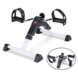 TODO Pedal Exerciser Foot Peddler Mini Bike Foldable with LCD Monitor (White)