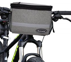 ROLSCALER Bicycle Basket Handlebar Cooler Bag with TPU Touch Screen and Reflective Stripe for Mo ...