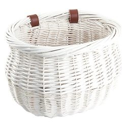 Sunlite Willow Bushel Strap-On Basket, 13 x 8 x 9″, White