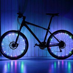 Glumes Bike Wheel String Lights, LED Waterproof Bicycle Spoke Light 20 LED 2 Light Modes Bicycle ...
