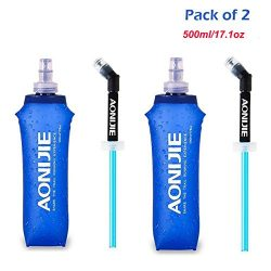 AONIJIE Pack 2 TPU Soft Hydration Water Bottle BPA-Free Collapsible Flask-Use in Hydration Vest  ...