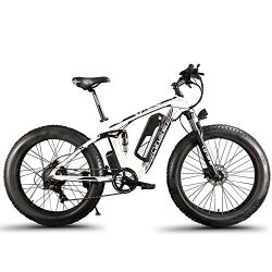 Cyrusher Fat Tire Electric Bike 1000W Snow E-Bike Beach Cruiser 48 Volt Men Women Dual Suspensio ...