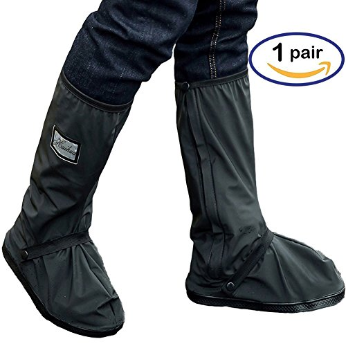 Holyami Waterproof Rain Boots Shoes Covers for Women Men-Black Anti Slip Reusable Washable Rain  ...