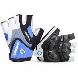 INBIKE Bike Gloves Men Half Finger Bicycle Gloves 5mm Gel Pad Cycling Gloves Blue X-Large