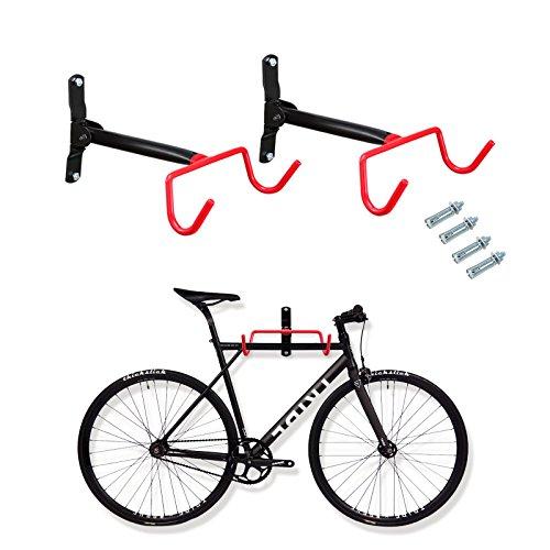 Voilamart Bike Wall Mount Hanger, 2pcs Indoor Storage Rack, Garage Bicycle Holder Hook Folding S ...