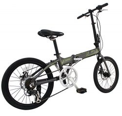 Phoenix Bicycle PF 20 inch Aluminum Portable and Folding Bike with Disk Brake and Shimano 7 Spee ...