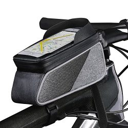 ROTTO Bicycle Bag Bike Frame Bag Top Tube Phone Bags Sensitive Touch Screen Waterproof with Rain ...