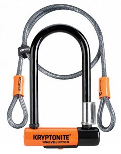 Kryptonite 2079 New-U Evolution Mini-7 Heavy Duty Bicycle U Lock w/ 4' KryptoFlex Double Loop Bi ...