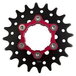Origin8 Ultim8 Single Speed Cassette Cog w/ 6b Disc Mount, 20t x 3/32″, Black/Red