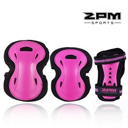 2pm Sports Girl's Pink Protective Gear Set – Knee Pads Elbow Pads and Wrist Guards f ...