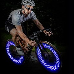 Glumes Bike Wheel Lights, LED IP55 Waterproof Bicycle Spoke Light 7-LED 15 Changes Patterns Bicy ...