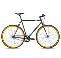 6KU Nebula 2 Fixed Gear Bicycle, Matte Black/Gold, 55cm