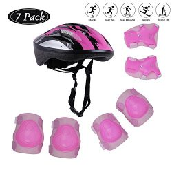 Tour Sports Safety Protective Gear Set for Girls, Kids Helmet Elbow Pads Knee Pads Wrist Guard f ...