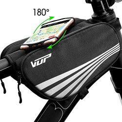 VUP Bike Bag for Top Tube, Bicycle Front Tube Frame Bags w/Open-face 180°Rotatable Silicone Stra ...