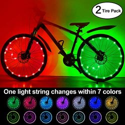 (2-Tire Pack) Waterproof LEDs Bike Wheel Lights 7 Colors Changeable Ultra Bright Colorful LED Bi ...
