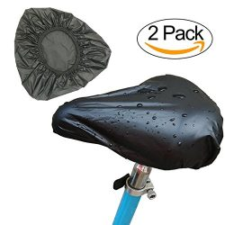 TENKEY Black Waterproof Bike Seat Rain Cover, Protective Water and Dust Resistant Bicycle Saddle ...