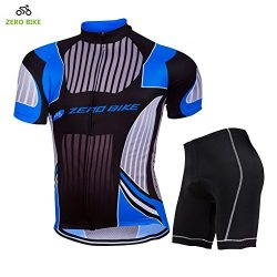 ZEROBIKE Men's Short Sleeve Breathable Cycling Jersey 3D Padded Shorts Sportswear Suit Set ...