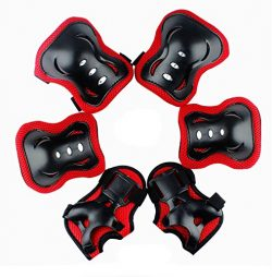 Satisfounder Elbow and Knee Pads Set Wrist Guard for Kids Boys Girls Thickened Design Skating Bi ...