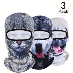 JIUSY 3 Pack – 3D Animal Balaclava Head Cove Hood Face Mask Protection Wind Dust Snow UV f ...